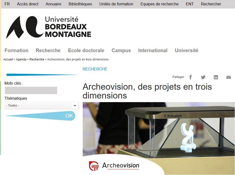 Archeovision à L'honneur Dans La Newsletter De L'Université Bordeaux Montaigne
